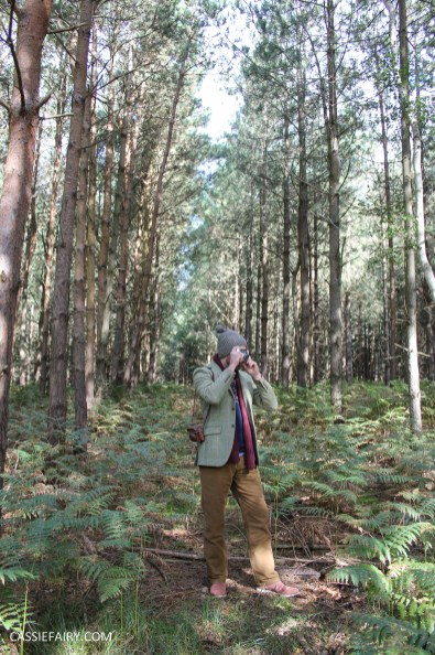 menswear mens fashion styling a tweed jacket layered warm outdoor forest autumn winter