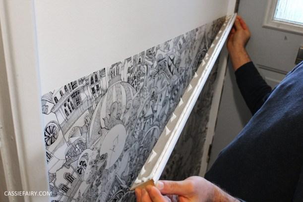monochrome home interior design black and white decor hallway makeover dado rail rug-11