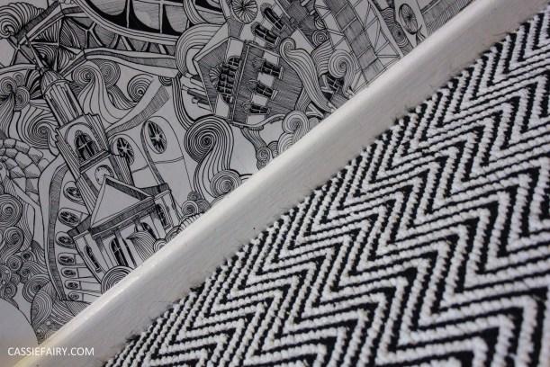 monochrome home interior design black and white decor hallway makeover dado rail rug-28