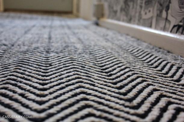 monochrome home interior design black and white decor hallway makeover dado rail rug-29