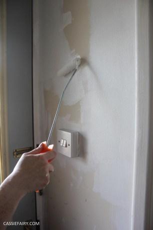 monochrome home interior design black and white decor hallway makeover dado rail rug-5