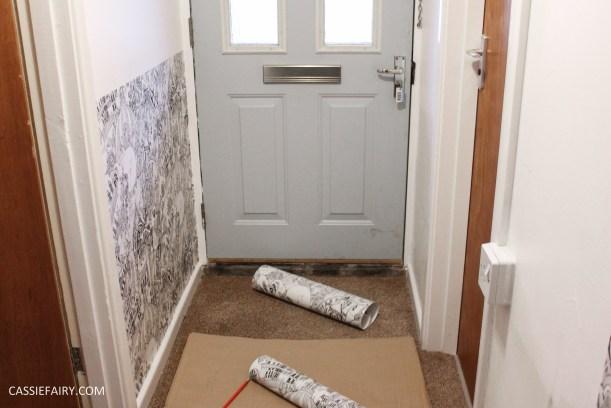 monochrome home interior design black and white decor hallway makeover dado rail rug-9