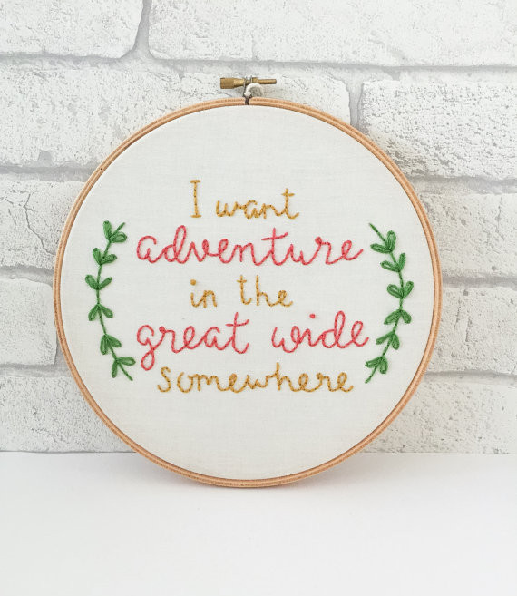 embroidery hoop art disney quote