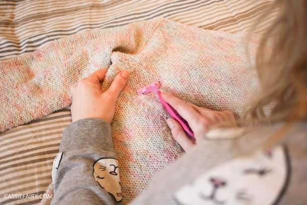 thrifty jumper makeover tip with razor money saving inspiration hack-3