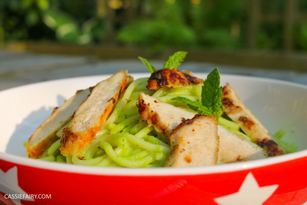 minted pea pasta recipe with grilled chicken breast al fresco meal dinner-22