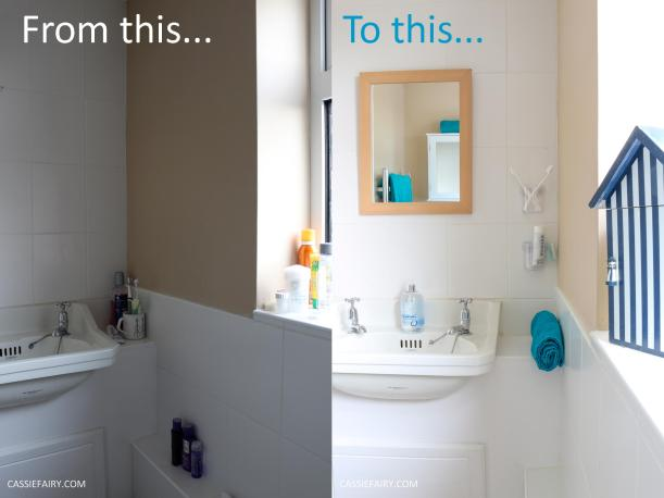 thrifty low cost summer coastal bathroom makeover diy project_before and after budget diy