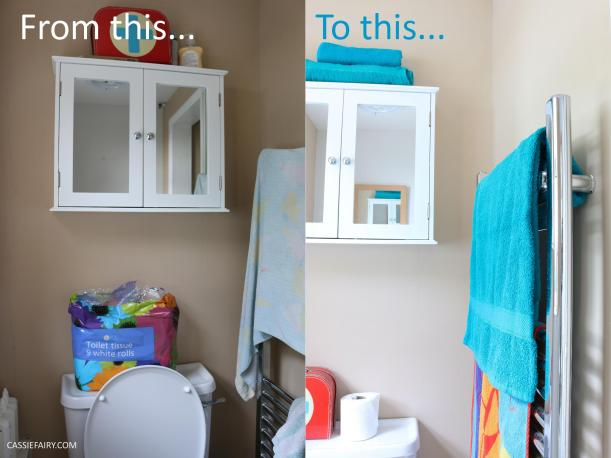 thrifty low cost summer coastal bathroom makeover diy project_before and after