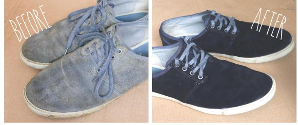 blue suede shoes shoe fabric dying makeover before after