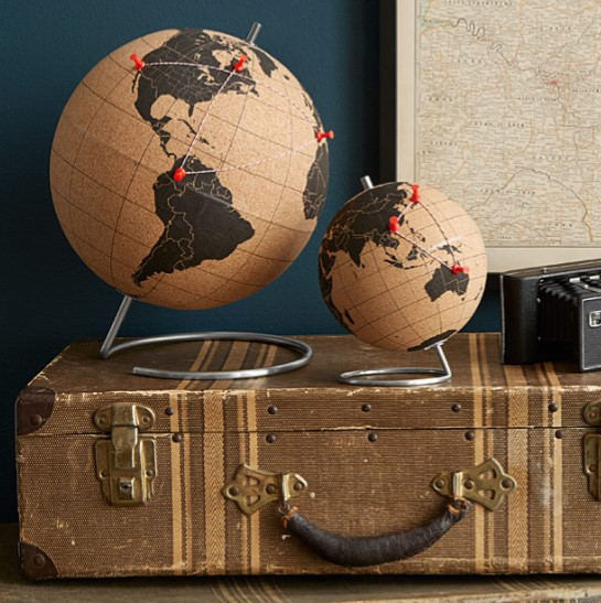 cork globes officc decor