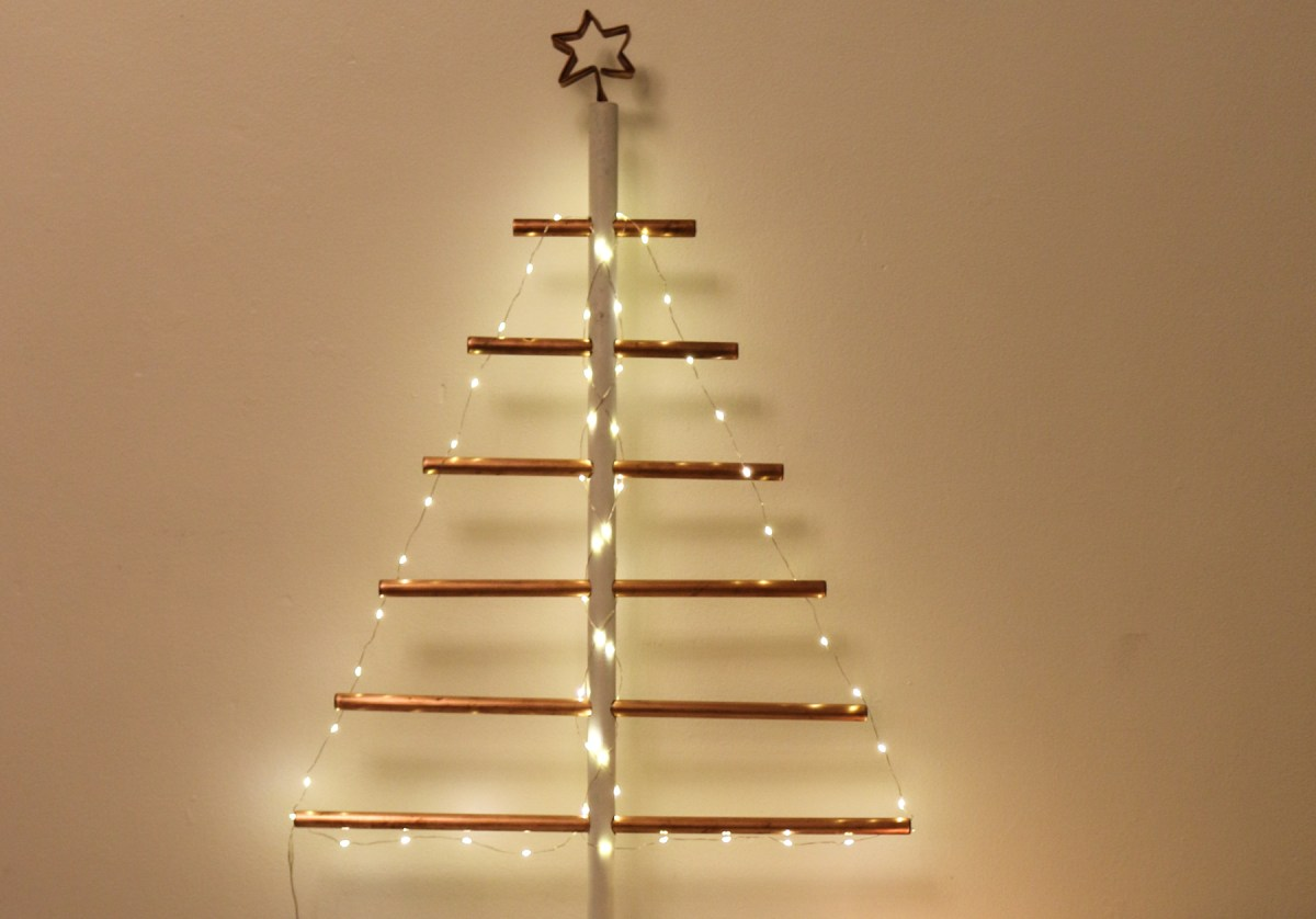 How to DIY a space-saving copper pipe Christmas tree