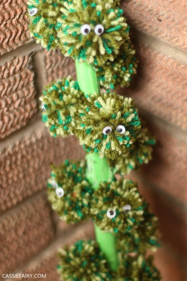 sprout stalk pompom upcycle diy wool christmas decoration project -14