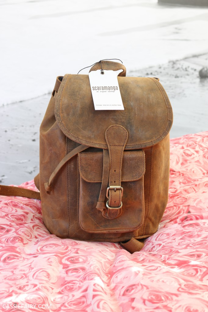photo of vintage leather backpack