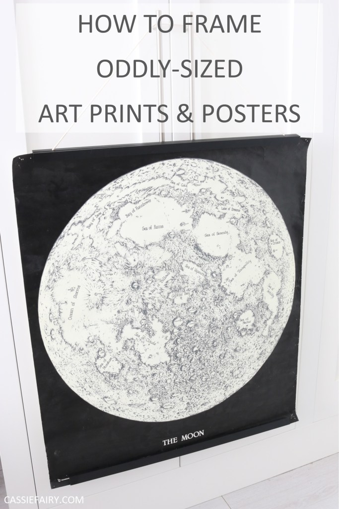 "Pinnable photo of poster with text ""how to frame oddly-sized art prints and posters"""