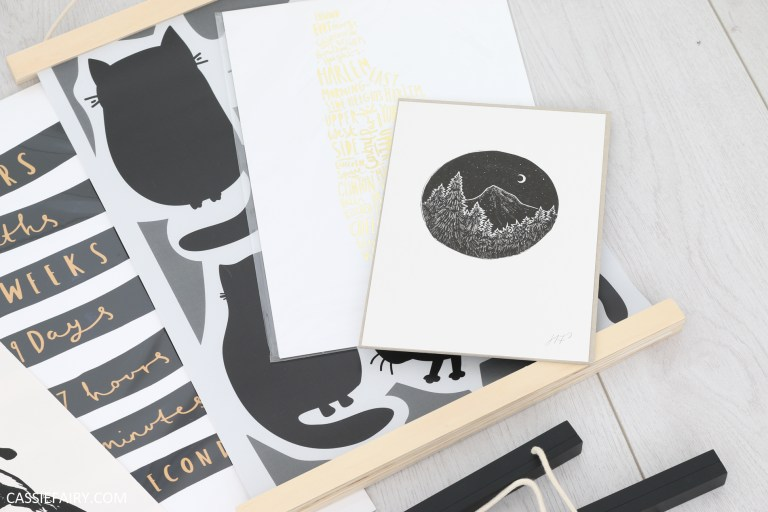 Photo of monochrome lino print by artist Hannah Farthing