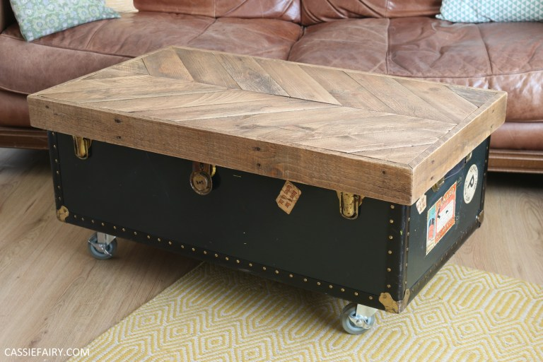 How To Upcyle A Pallet Dusty Old Trunk Into A Rustic Coffee Table With Handy Storage