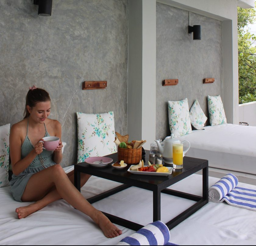 Breakfast overlooking the pool at Cantaloupe Levels, a small boutique hotel in Sri Lanka
