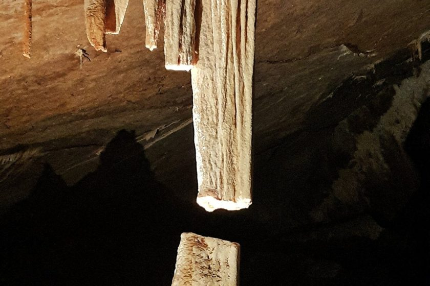 A beautiful rock formation at Jenolan Caves called the Broken Column