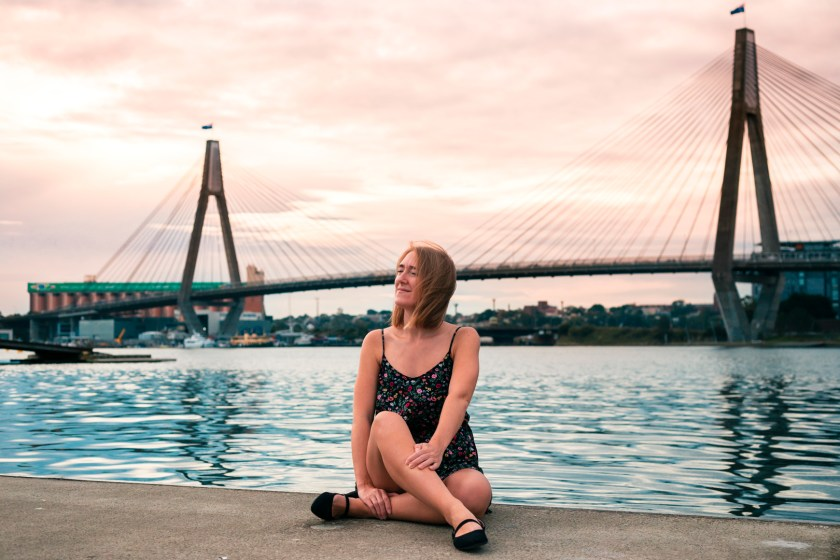 Karen in front of the Anzac Bridge which connects Balmain to the Sydney CBD