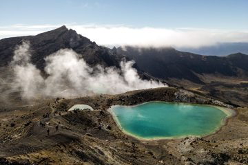 Volcanic Blue lakes - views from the Tongariro Alpine Crossing in New Zealand