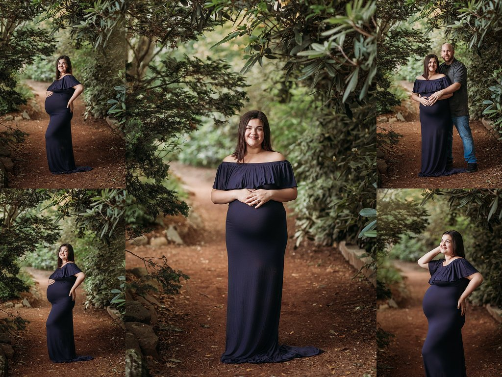 maternity photos navy blue gown