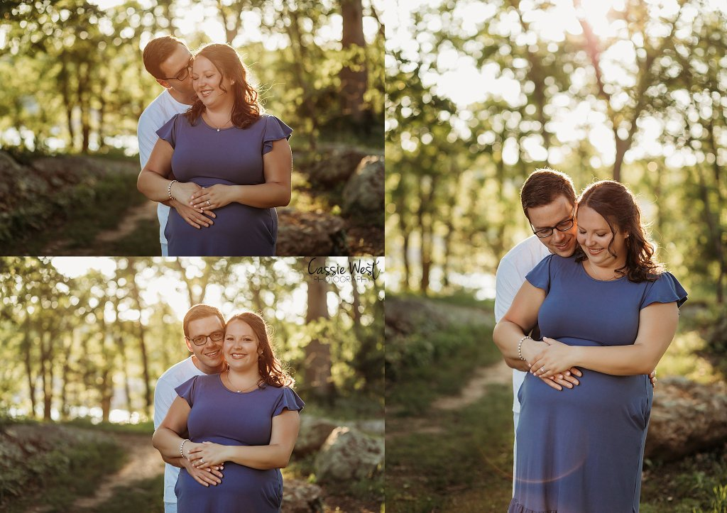 sunset maternity photos with husband, blue dress