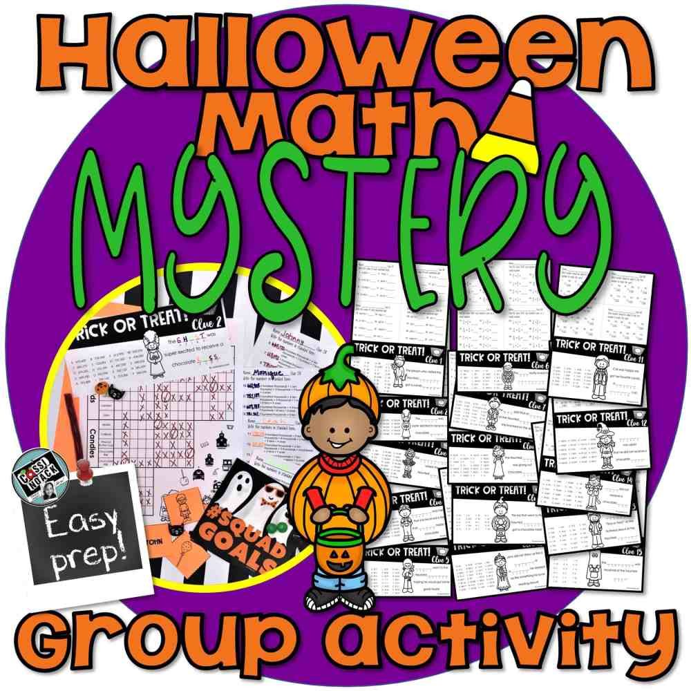 medium resolution of Halloween Math Worksheets for a SUPER FUN Mystery! GROUP ACTIVITY 4th-5th  grade • Cassi Noack