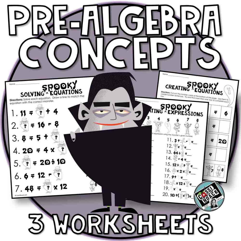 medium resolution of Halloween Math 4th \u0026 5th grade algebra skills Evaluating Expressions