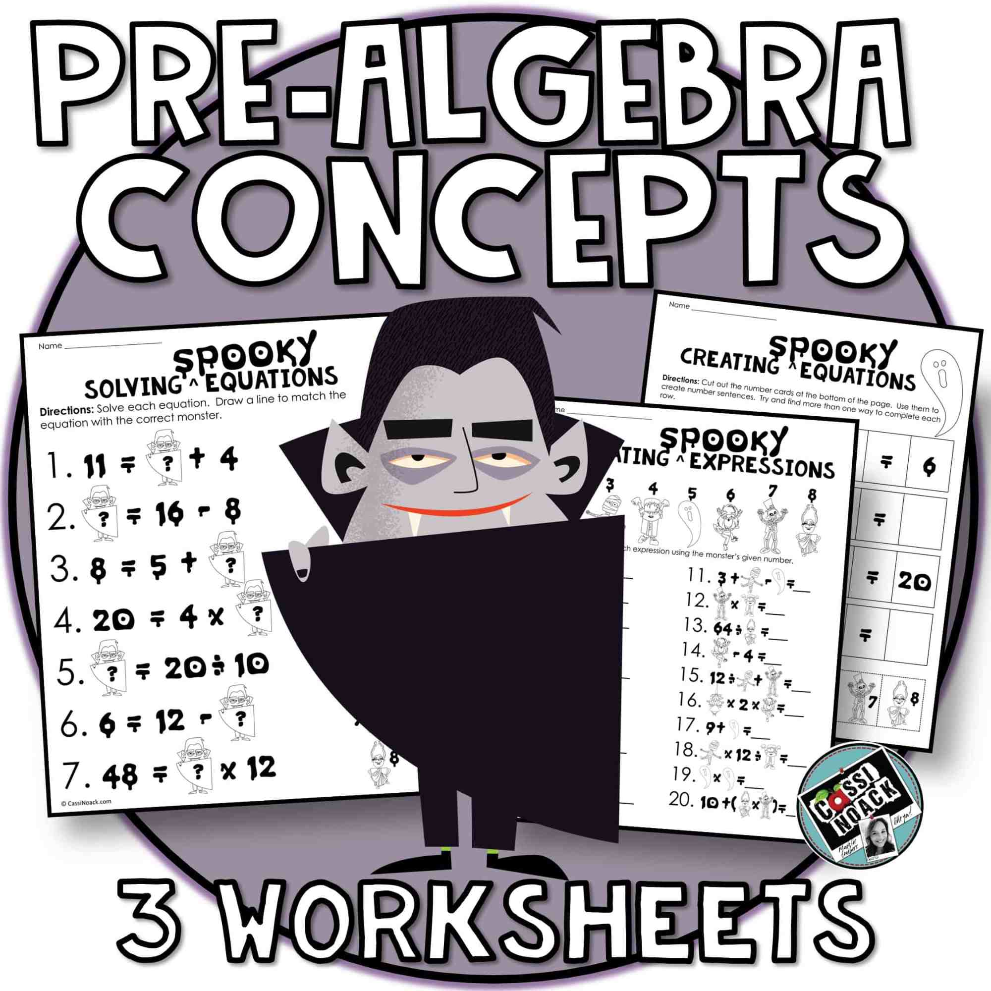 hight resolution of Halloween Math 4th \u0026 5th grade algebra skills Evaluating Expressions