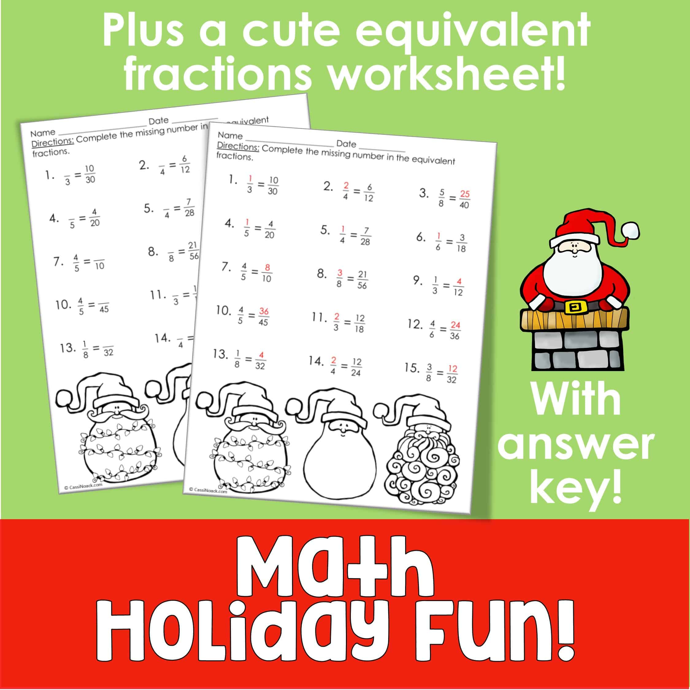 Christmas Math Worksheet Fractions