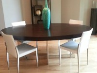Contemporary Large Oval Dark Wood Dining Table with ...