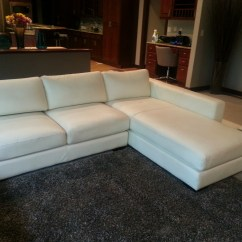 T35 Mini Modern White Leather Sectional Sofa Cream Full Chaise Large Contemporary With Built In