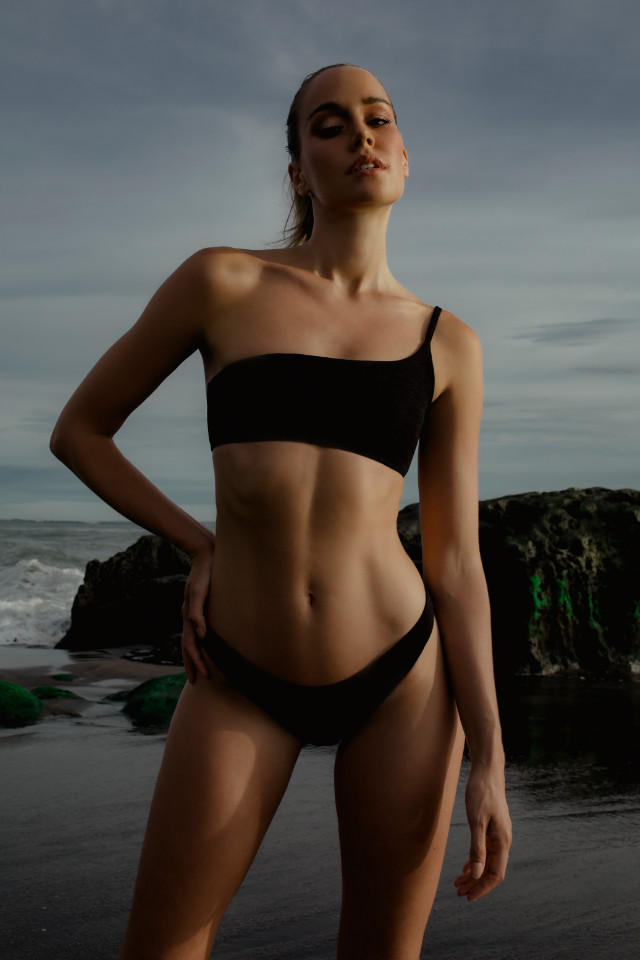 Female model Melissa Overgaard who regularly shoots for swimwear and activewear brands