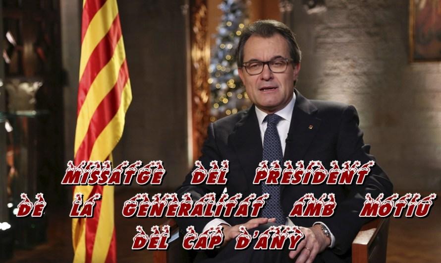 Missatge  del  president  de  la  Generalitat  amb  motiu del Cap d'Any