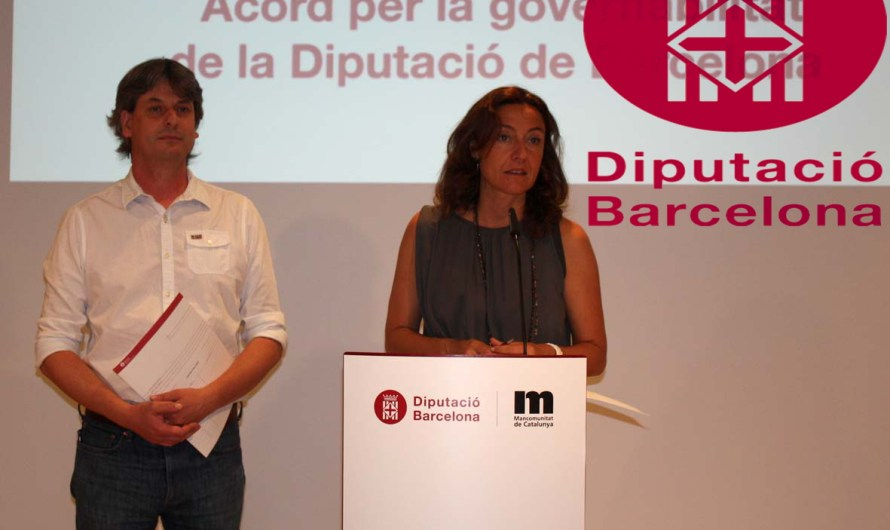 Mercè Conesa i Dionís Guiteras presenten l'acord de governabilitat de la Diputació de Barcelona