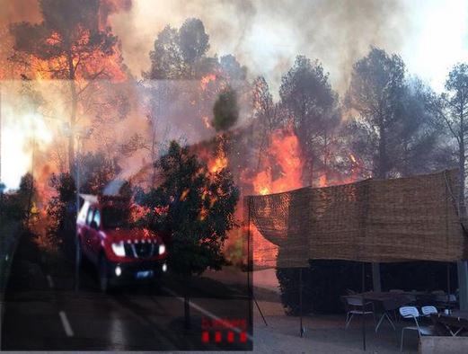 Els bombers treballaran tota la nit per extinguir el gran foc de l´Anoia i el Bages que ja ha cremat 700 hectàeres