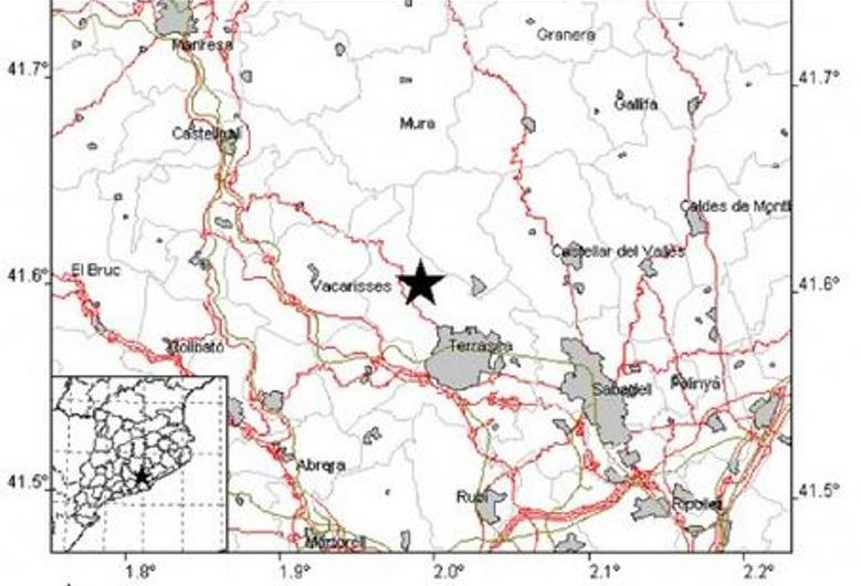 Un terratrèmol de magnitut 3,2 de l'escala de ritcher amb epicentre a Vacarisses, es percep a Castellbell i el Vilar