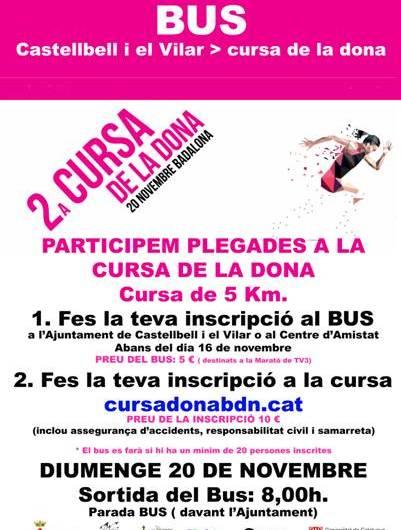 """Castellbell i el Vilar prepara un bus per """"la Cursa de la Dona"""" que se celebrarà a Badalona"""