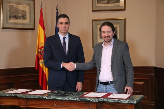 Sánchez i Iglesias signen un preacord de govern de coalició