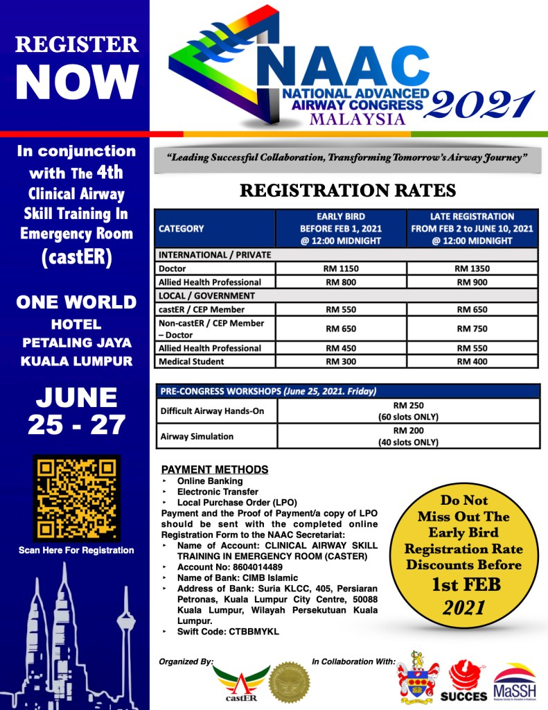 NAAC Msia 2021 Registration Rate & Payment Methods