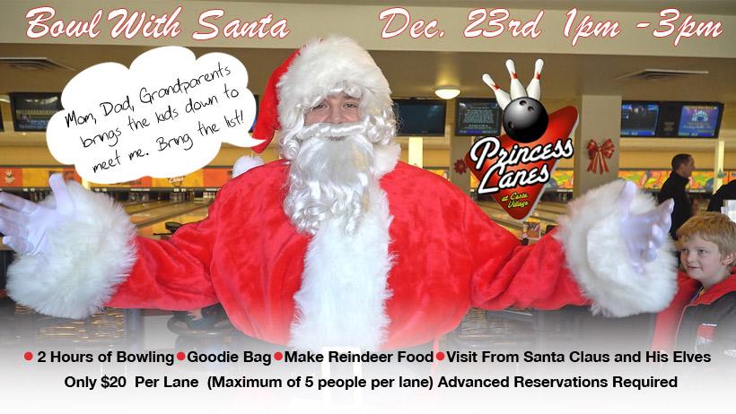 Bowl with Santa at Princess Lanes Bowling Center