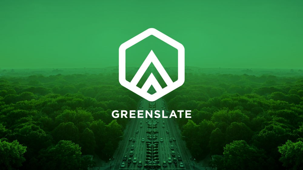 Greenslate white logo on green background