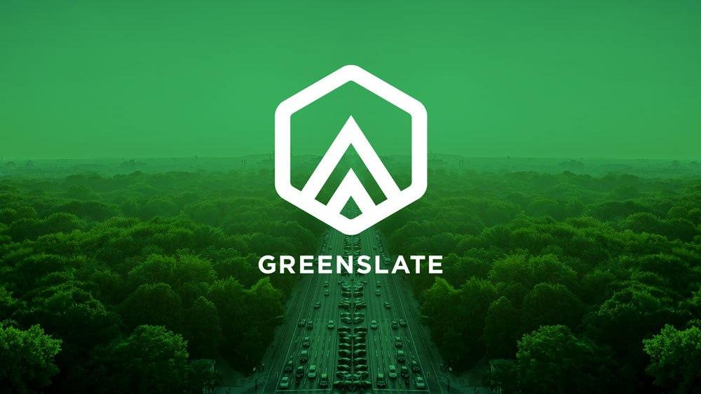 Greenslate white logo on green background