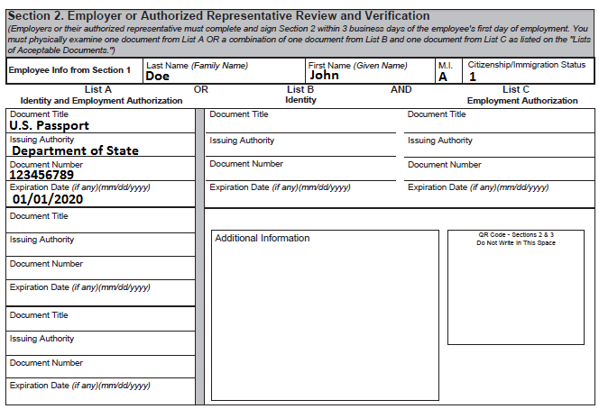 Employee Eligibility Form Section 2
