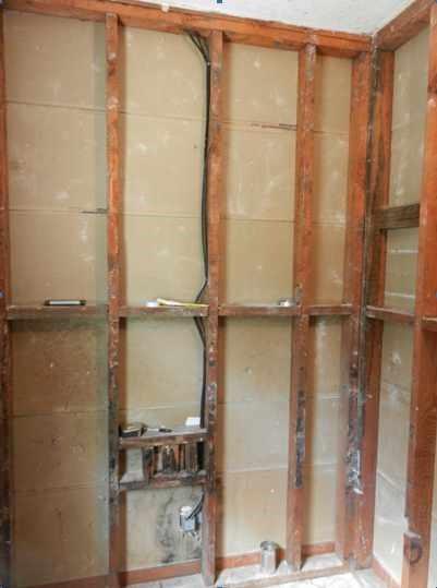Eugene bathroom walls removed during remodeling job