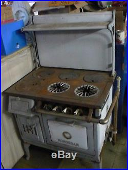 cast iron kitchen stove cheapest cabinets vintage antique monogram wood gas enamel