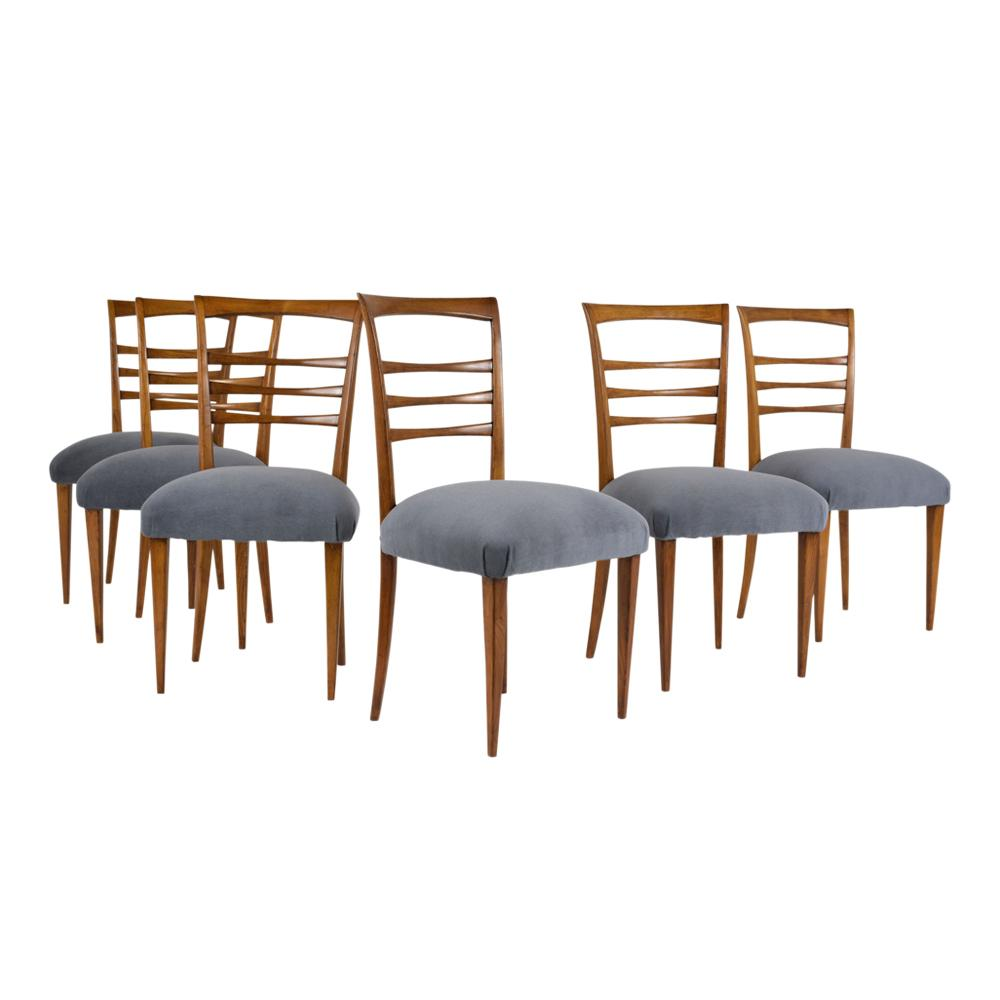 Italian Dining Chairs Set Of Six Ico Parisi Style Italian Dining Chairs