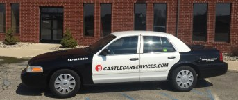 Castle Car Services black and white sedan