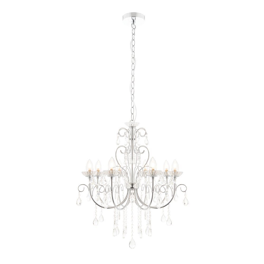 Bathroom Chandelier Lighting Endon Lighting Tabitha 8 Light Bathroom Chandelier In Polished Chrome Finish With Crystal Glass Detail