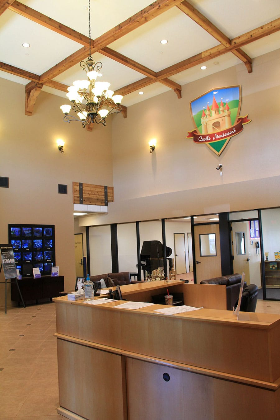 Lobby with security monitors