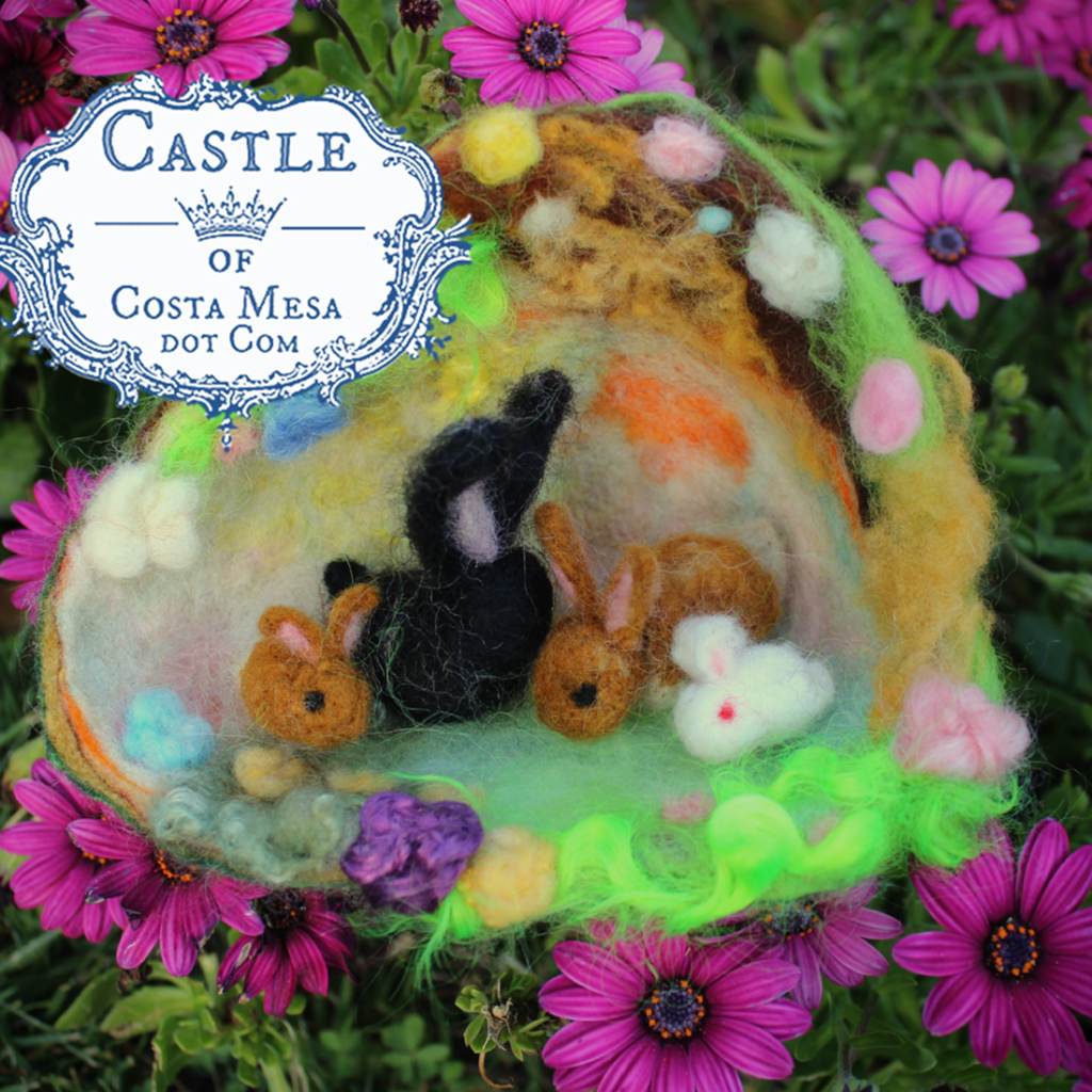 Spring Craft A Felted Rabbit Family In A Burrow